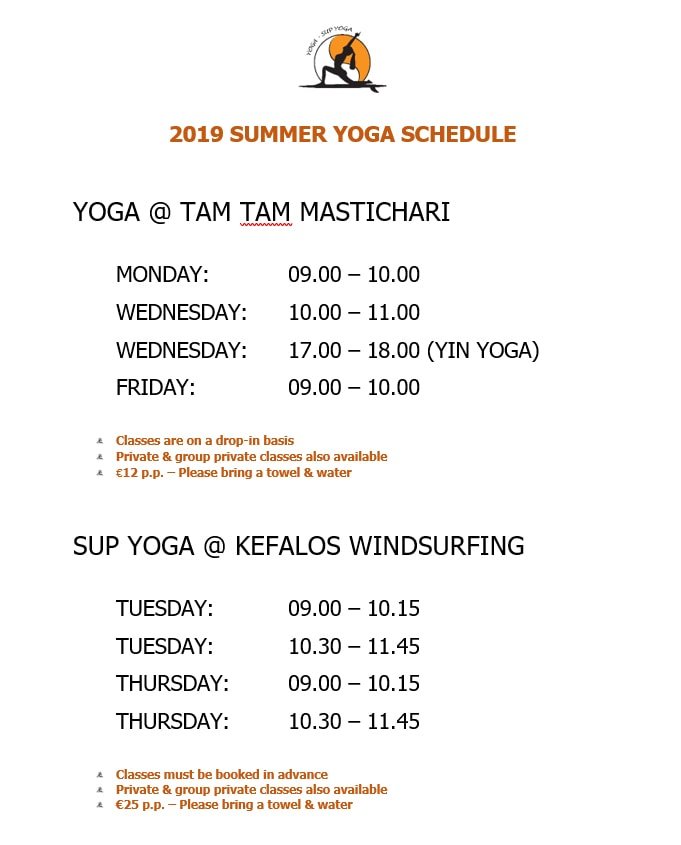 2019 YOGA & SUP YOGA SUMMER YOGA SCHEDULE